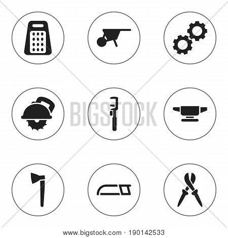 Set Of 9 Editable Apparatus Icons. Includes Symbols Such As Spanner, Pliers, Hacksaw And More. Can Be Used For Web, Mobile, UI And Infographic Design.