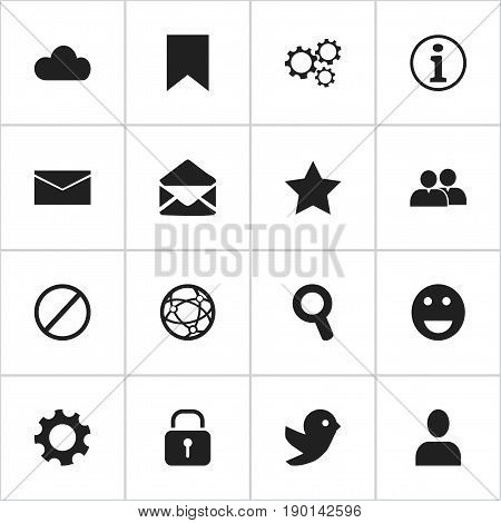 Set Of 16 Editable Internet Icons. Includes Symbols Such As Dove, Tag, Settings And More. Can Be Used For Web, Mobile, UI And Infographic Design.