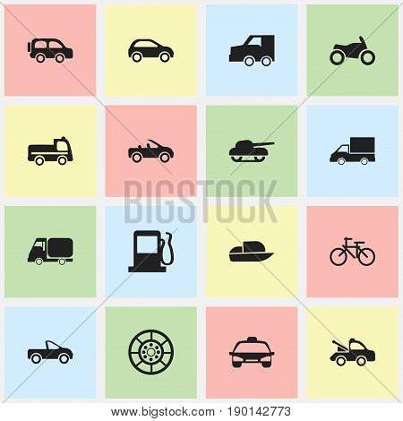 Set Of 16 Editable Shipment Icons. Includes Symbols Such As Truck, Taxi, Wheel And More. Can Be Used For Web, Mobile, UI And Infographic Design.