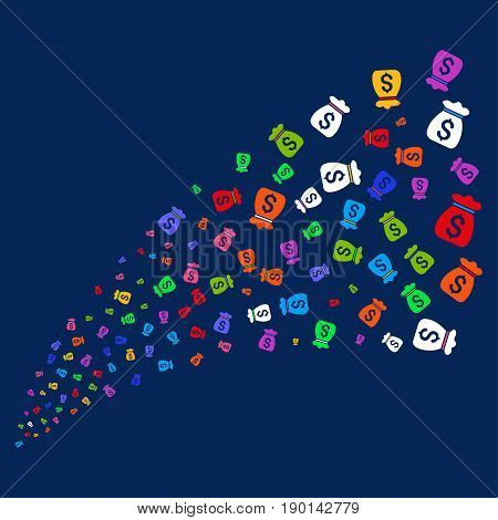 Source of money bag symbols. Vector illustration style is flat bright multicolored money bag iconic symbols on a blue background. Object stream made from confetti pictographs.