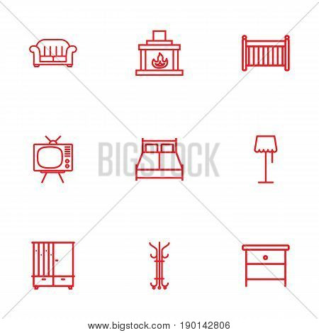 Set Of 9 Set Outline Icons Set.Collection Of Armchair, Crib, Tv Set And Other Elements.