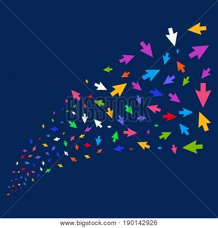Source stream of mouse cursor symbols. Vector illustration style is flat bright multicolored mouse cursor iconic symbols on a blue background. Object source constructed from scattered icons.