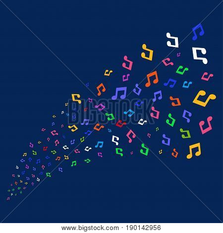 Source stream of music notes symbols. Vector illustration style is flat bright multicolored music notes iconic symbols on a blue background. Object stream created from random icons.