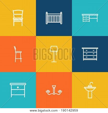 Set Of 9 Set Outline Icons Set.Collection Of Desk, Chair, Bar Stool And Other Elements.