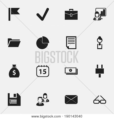 Set Of 16 Editable Bureau Icons. Includes Symbols Such As Dollar, Circle Diagram, Socket And More. Can Be Used For Web, Mobile, UI And Infographic Design.
