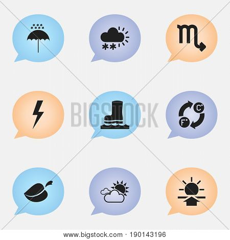 Set Of 9 Editable  Icons. Includes Symbols Such As Snow Granule, Sunup, Plant And More. Can Be Used For Web, Mobile, UI And Infographic Design.