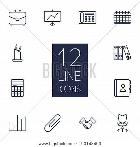 Set Of 12 Bureau Outline Icons Set.Collection Of Pen Storage, Show, Fastener Paper And Other Elements.