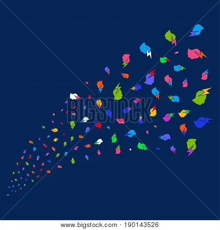 Source of person stress strike symbols. Vector illustration style is flat bright multicolored person stress strike iconic symbols on a blue background. Object fountain done from random symbols.