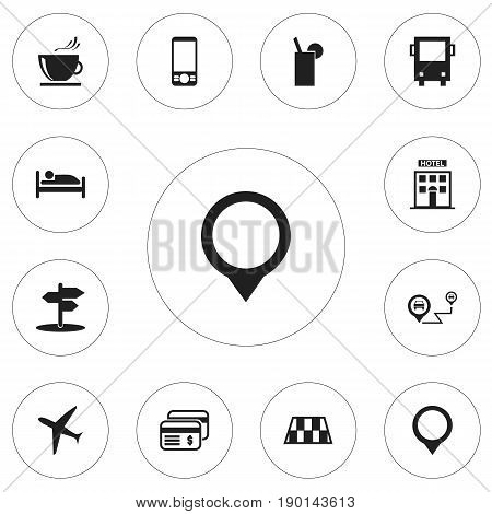 Set Of 12 Editable Holiday Icons. Includes Symbols Such As Aircraft, Pin, Gps And More. Can Be Used For Web, Mobile, UI And Infographic Design.