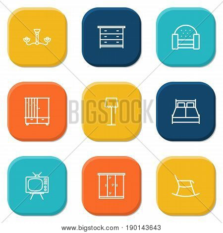 Set Of 9 Situation Outline Icons Set.Collection Of Double Bed, Closet, Moving Chair And Other Elements.