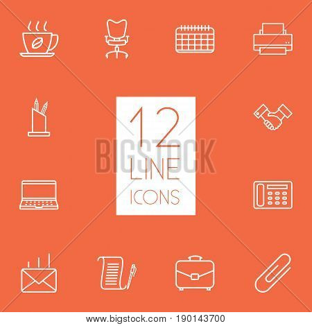 Set Of 12 Bureau Outline Icons Set.Collection Of Post, Printing Machine, Portfolio And Other Elements.