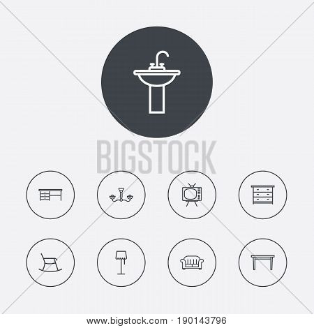 Set Of 9 Situation Outline Icons Set.Collection Of Desk, Chandelier, Moving Chair Elements.