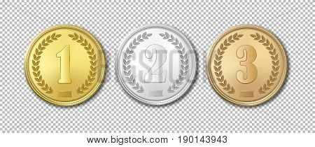 Realistic vector gold, silver and bronze award medals icon set isolated on transparent background. Design templates. The first, second, third prizes. EPS10 illustration.