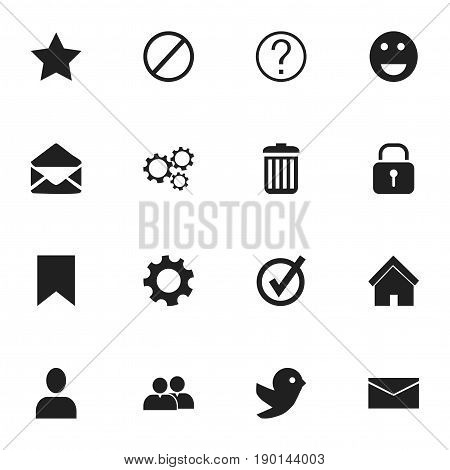 Set Of 16 Editable Internet Icons. Includes Symbols Such As Approved, Security, Quiz And More. Can Be Used For Web, Mobile, UI And Infographic Design.