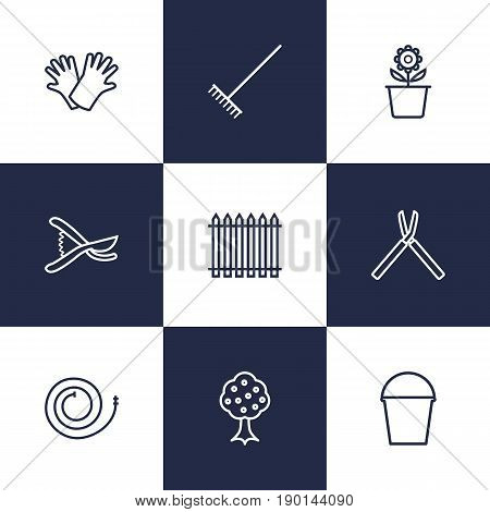 Set Of 9 Household Outline Icons Set.Collection Of Harrow, Secateurs, Shears And Other Elements.
