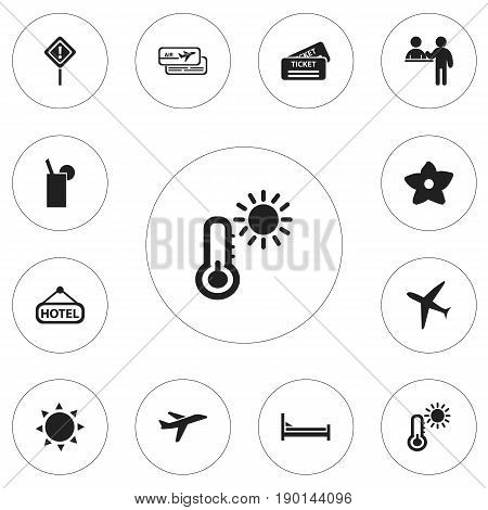 Set Of 12 Editable Travel Icons. Includes Symbols Such As Boarding Pass, Solar, Vacation And More. Can Be Used For Web, Mobile, UI And Infographic Design.