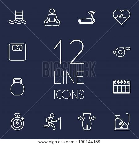 Set Of 12 Training Outline Icons Set.Collection Of Pool, Scales, Kettlebells And Other Elements.