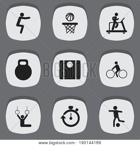 Set Of 9 Editable Exercise Icons. Includes Symbols Such As Weightiness, Basketball, Balance And More. Can Be Used For Web, Mobile, UI And Infographic Design.
