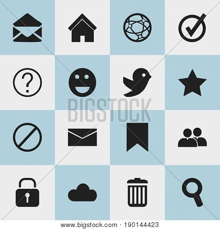 Set Of 16 Editable Internet Icons. Includes Symbols Such As Sky, Letter, Quiz And More. Can Be Used For Web, Mobile, UI And Infographic Design.