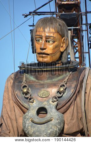 MONTREAL QUEBEC CANADA 19 05 17: The giant deep-sea diver in the street of Montreal for the 375e anniversary of the city, by Royal De Luxe company Nantes France