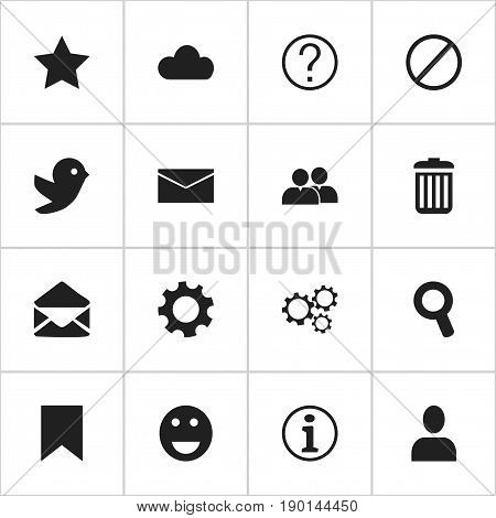 Set Of 16 Editable Network Icons. Includes Symbols Such As Emoji, Gear, Deny And More. Can Be Used For Web, Mobile, UI And Infographic Design.