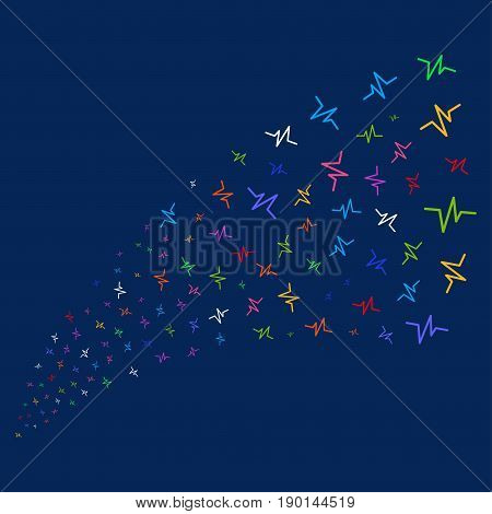 Source stream of pulse symbols. Vector illustration style is flat bright multicolored pulse iconic symbols on a blue background. Object stream organized from confetti symbols.