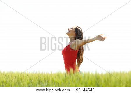 Side view of a happy girl wearing res shirt breathing fresh air and raising arms in a field with a white sky in the background