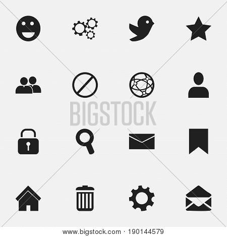 Set Of 16 Editable Web Icons. Includes Symbols Such As Letter, Profile, Bookmark And More. Can Be Used For Web, Mobile, UI And Infographic Design.