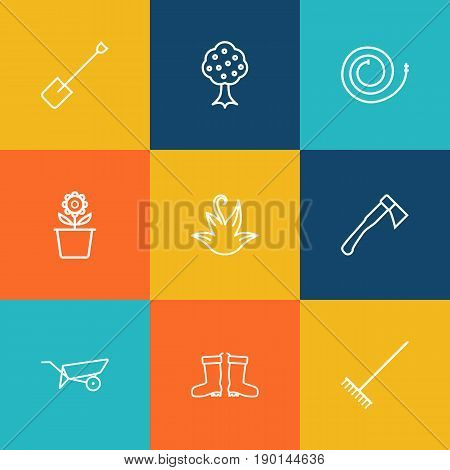 Set Of 9 Farm Outline Icons Set.Collection Of Barrow, Spade, Firehose And Other Elements.