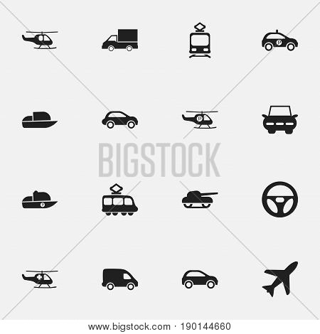 Set Of 16 Editable Shipment Icons. Includes Symbols Such As Chopper, City Drive, Automobile And More. Can Be Used For Web, Mobile, UI And Infographic Design.