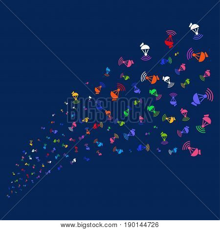 Source stream of radio transmitter icons. Vector illustration style is flat bright multicolored radio transmitter iconic symbols on a blue background. Object salute done from scattered symbols.