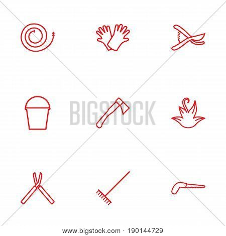 Set Of 9 Household Outline Icons Set.Collection Of Harrow, Pail, Herb And Other Elements.