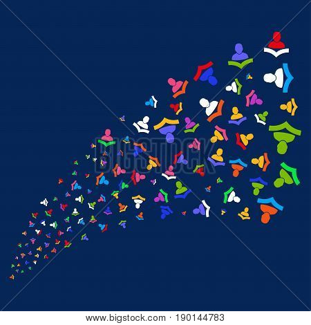 Source of reader icons. Vector illustration style is flat bright multicolored reader iconic symbols on a blue background. Object salute made from confetti icons.