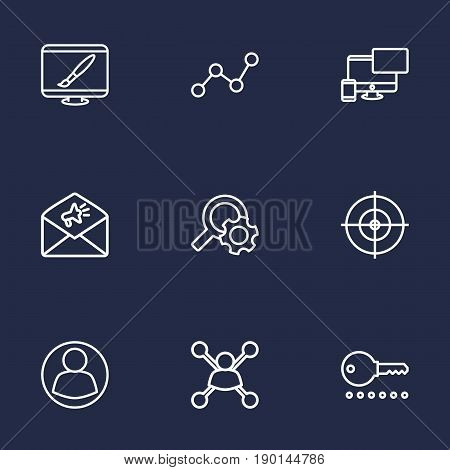 Set Of 9 Search Outline Icons Set.Collection Of Item Identifier, Stock Exchange, Guest And Other Elements.