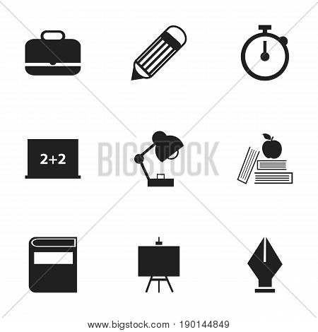 Set Of 9 Editable Education Icons. Includes Symbols Such As Textbook, Eraser, Nib And More. Can Be Used For Web, Mobile, UI And Infographic Design.