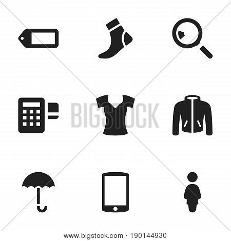 Set Of 9 Editable Trade Icons. Includes Symbols Such As Vest, Cellphone, Hosiery And More. Can Be Used For Web, Mobile, UI And Infographic Design.