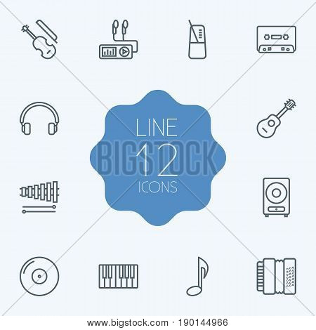 Set Of 12 Song Outline Icons Set.Collection Of Pace, Fiddle, Turntable And Other Elements.