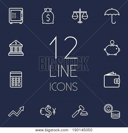 Set Of 12 Budget Outline Icons Set.Collection Of Safe, Grow Up, Protect And Other Elements.
