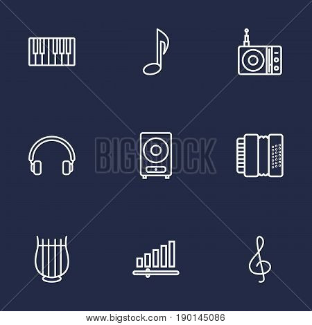 Set Of 9 Melody Outline Icons Set.Collection Of Headphones, Note, Fortepiano And Other Elements.