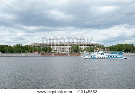 MOSCOW RUSSIA - June 04 2017 Large sports arena of the sports complex Luzhniki in Moscow