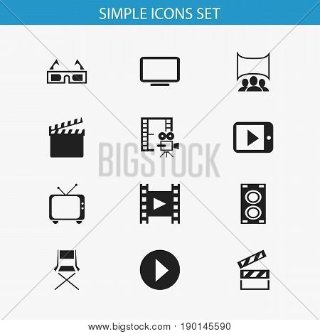 Set Of 12 Editable Movie Icons. Includes Symbols Such As 3D Vision, Telly, Show And More. Can Be Used For Web, Mobile, UI And Infographic Design.