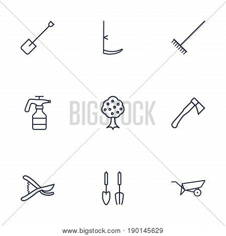Set Of 9 Horticulture Outline Icons Set.Collection Of Atomizer, Scythe, Harrow And Other Elements.