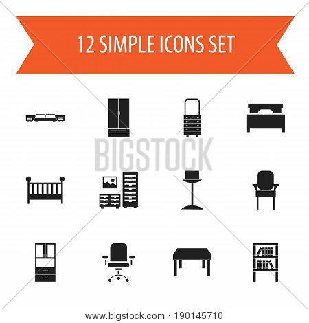 Set Of 12 Editable Interior Icons. Includes Symbols Such As Bed, Enlightenment, Stool And More. Can Be Used For Web, Mobile, UI And Infographic Design.