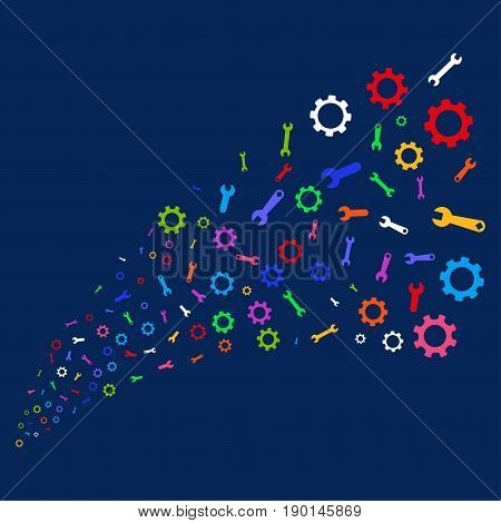 Source stream of setup tools icons. Vector illustration style is flat bright multicolored setup tools iconic symbols on a blue background. Object salute organized from scattered pictographs.