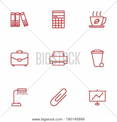 Set Of 9 Bureau Outline Icons Set.Collection Of Document Case, Hot Drink, Show And Other Elements.