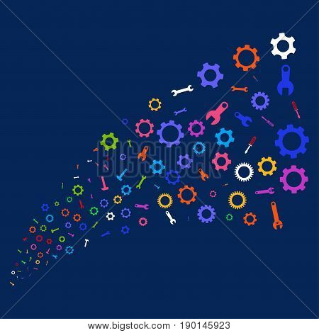 Fountain of setup tools symbols. Vector illustration style is flat bright multicolored setup tools iconic symbols on a blue background. Object salute done from scattered design elements.