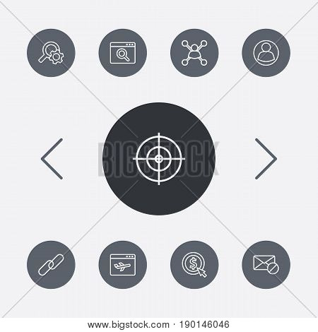 Set Of 9 Search Outline Icons Set.Collection Of Item Identifier, Url, Keywords And Other Elements.