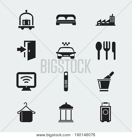 Set Of 12 Editable Motel Icons. Includes Symbols Such As Baggage, Champagne, Entry And More. Can Be Used For Web, Mobile, UI And Infographic Design.