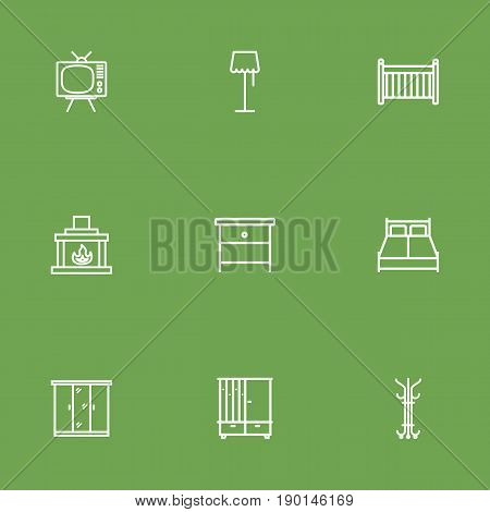 Set Of 9 Set Outline Icons Set.Collection Of Double Bed, Closet, Floor Lapm And Other Elements.