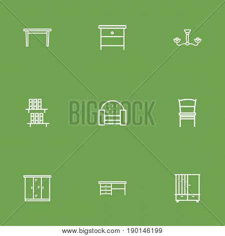 Set Of 9 Set Outline Icons Set.Collection Of Chandelier, Sofa, Desk Elements.